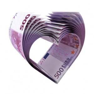 500 Euro Banknoten - Herzform